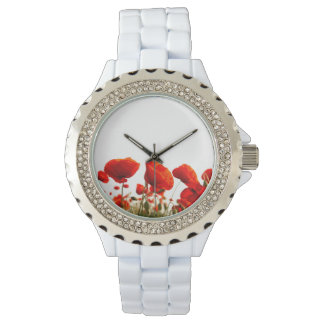 赤いケシ 腕時計