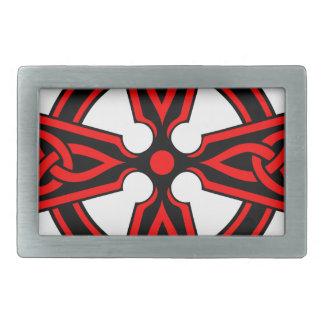 赤いケルト十字のサクソンのバイキングのwiccaの異教徒 長方形ベルトバックル
