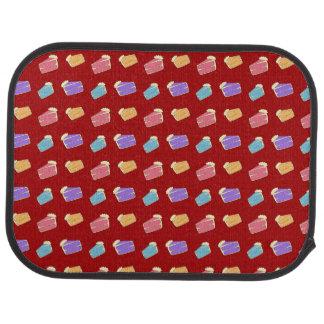 赤いケーキパターン カーマット
