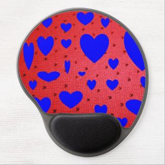 赤いゲルのマウスパッドが付いている青いハート ジェルマウスパッド