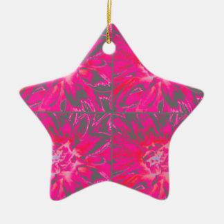 赤いコラージュのダリアの花模様は上がりました 陶器製星型オーナメント