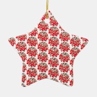 赤いコラージュのダリアの花模様 陶器製星型オーナメント