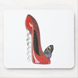 赤いコルクせん抜きの小剣の靴および蝶ギフトAr マウスパッド