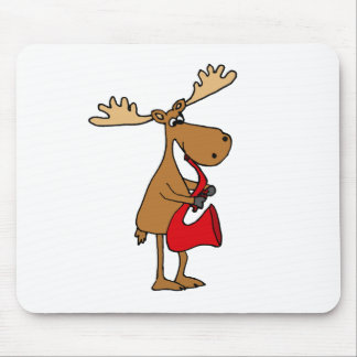 赤いサクソフォーンのオリジナルの芸術を遊んでいるおもしろいなアメリカヘラジカ マウスパッド