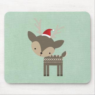 赤いサンタの帽子のレトロのヒップスターのクリスマスのシカ マウスパッド