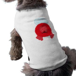 赤いシェフのPom Pomの友達犬のティー ペット服