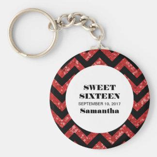 赤いシェブロンのグリッターの菓子16 Keychain キーホルダー