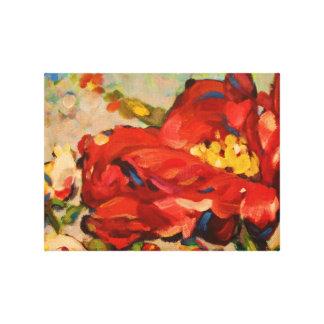 赤いシャクヤクの絵画 キャンバスプリント