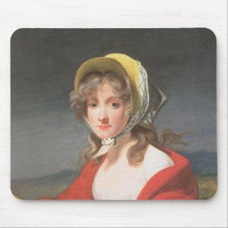 赤いショールを身に着けている女の子のポートレート マウスパッド