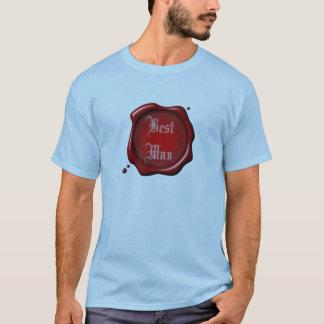 赤いシールの花婿介添人のTシャツのテンプレート Tシャツ