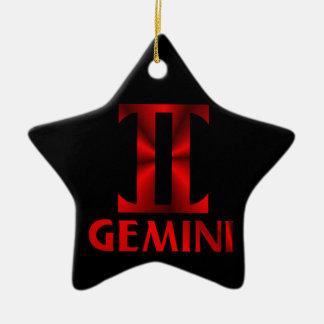 赤いジェミニ占星術の記号 セラミックオーナメント