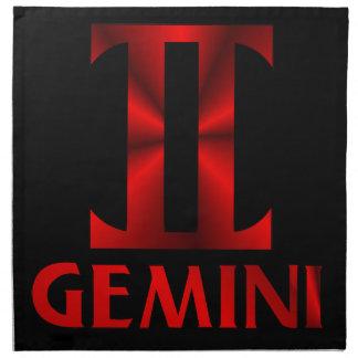 赤いジェミニ占星術の記号 ナプキンクロス