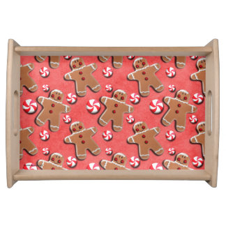 赤いジンジャーブレッドのクッキーキャンデー トレー