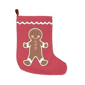 赤いジンジャーブレッドのストッキング ラージクリスマスストッキング