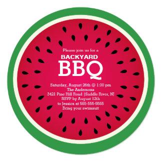 赤いスイカの夏BBQの招待状 カード
