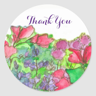 赤いスイートピーの花は感謝していしています ラウンドシール