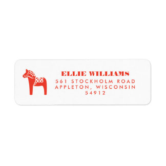赤いスウェーデン人のDalaの馬の休日の差出人住所 ラベル