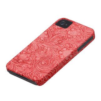 赤いスエードのレザールックのエンボスの花 Case-Mate iPhone 4 ケース