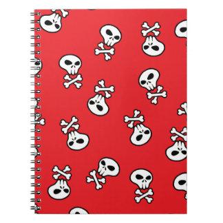 赤いスカルのタイル ノートブック