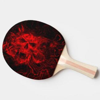 赤いスカルの頭部 卓球ラケット