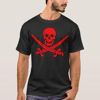 赤いスカル及び剣の海賊旗のTシャツ Tシャツ