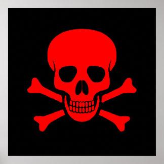 赤いスカル及び骨が交差した図形ポスター ポスター