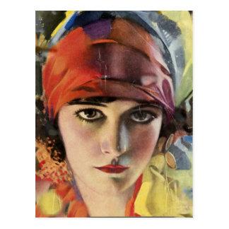 赤いスカーフのジプシーの女性 ポストカード