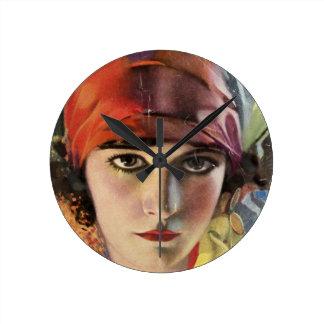 赤いスカーフのジプシーの女性 ラウンド壁時計