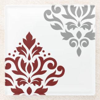 赤いスクロールダマスク織の芸術I及び白の灰色 ガラスコースター