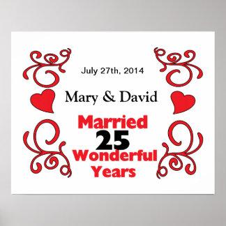 赤いスクロール及びハートの名前は及び25 Yr記念日に日付を記入します ポスター