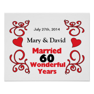 赤いスクロール及びハートの名前は及び60 Yr記念日に日付を記入します ポスター