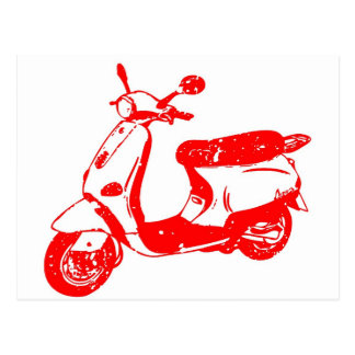 赤いスクーター ポストカード