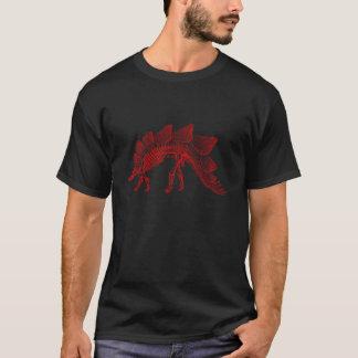 赤いステゴサウルスの恐竜の骨組 Tシャツ