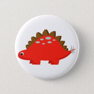 赤いステゴサウルスボタン 5.7CM 丸型バッジ