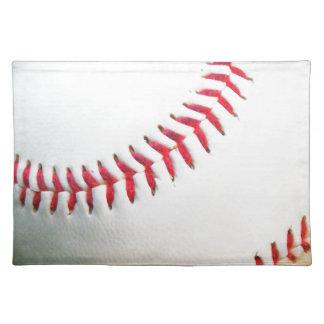 赤いステッチの白い野球 ランチョンマット