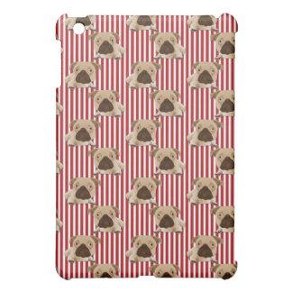 赤いストライプの愛らしいパグ iPad MINIケース