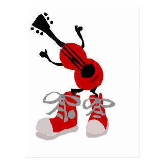 赤いスニーカーのデザインのおもしろいで赤いギター ポストカード