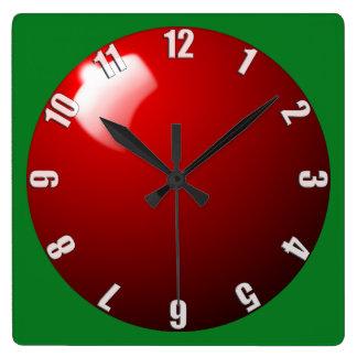 赤いスヌーカーの状況の時計のデザイン スクエア壁時計
