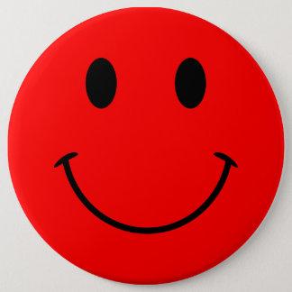 赤いスマイリーフェイスボタン 15.2CM 丸型バッジ