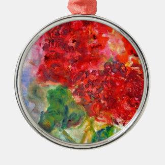 赤いゼラニウムのアクリルの絵画 メタルオーナメント