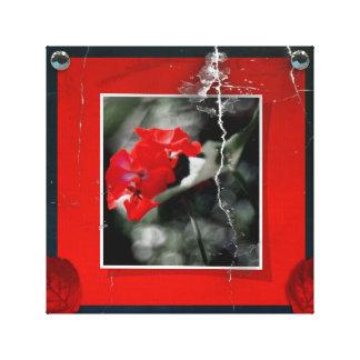 赤いゼラニウムのキャンバス キャンバスプリント