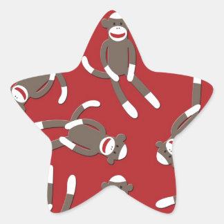 赤いソックス猿のプリント 星シール