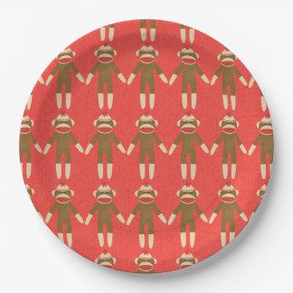 赤いソックス猿 ペーパープレート