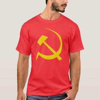 赤いソビエトソ連国旗のTシャツの金ゴールド Tシャツ