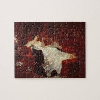 赤いソファーの女性 ジグソーパズル