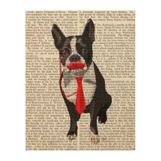 赤いタイおよび口ひげが付いているボストンテリア ウッドウォールアート
