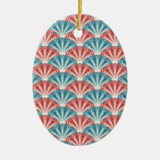 赤いターコイズのハマグリの貝のレトロのデザイン セラミックオーナメント