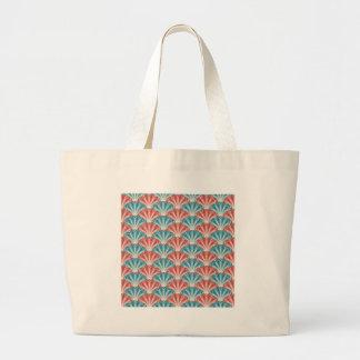 赤いターコイズのハマグリの貝のレトロのデザイン ラージトートバッグ