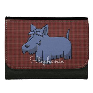 赤いタータンチェックのかわいい漫画のスコッチテリア犬 ウォレット