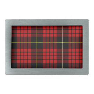赤いタータンチェックのベルトの留め金 長方形ベルトバックル